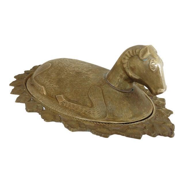 Mid-Century Brass Ram Vessel - Image 1 of 7
