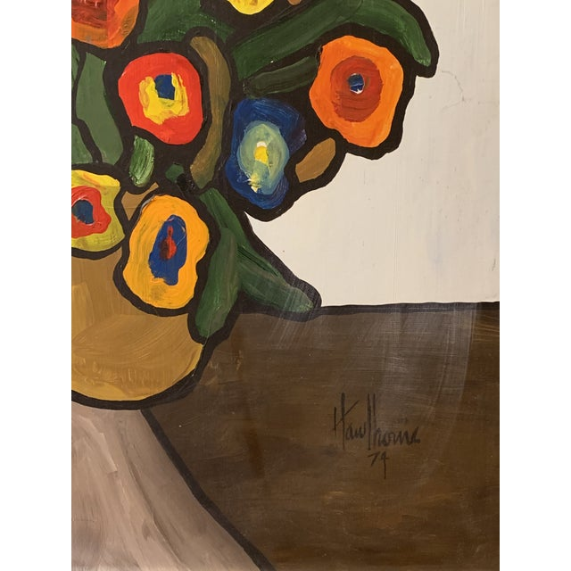 Vintage 1970's Abstract Original Flowers Oil Painting Signed Hawthorne For Sale In Detroit - Image 6 of 10
