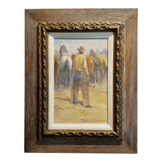 Nicholas Samuel Firfires - Marlboro Man - Western Oil Painting -1968 For Sale