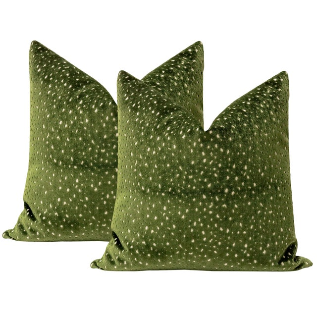 """Not Yet Made - Made To Order 22"""" Olive Antelope Cut Velvet Pillows - a Pair For Sale - Image 5 of 5"""