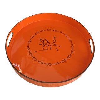 Equestrian Motif Hermes Style Orange Lacquered Serving Bar Tray For Sale