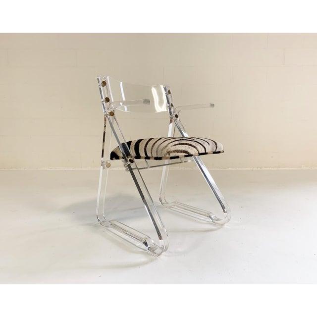 Plastic Vintage Mid Century Zebra Hide & Lucite Desk Chair For Sale - Image 7 of 7