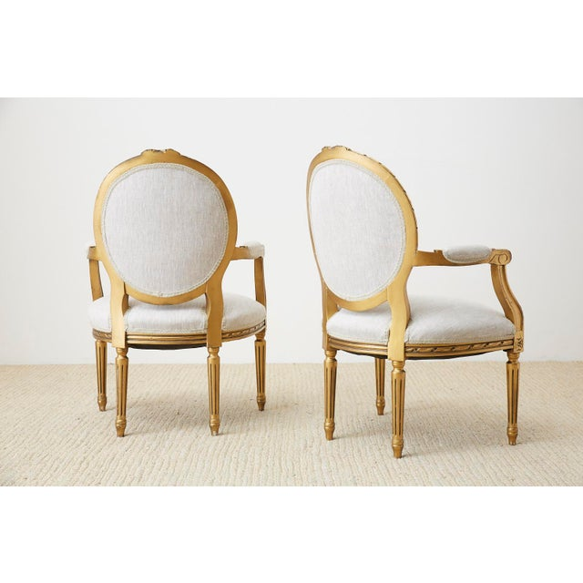 Pair of Louis XVI Style Giltwood Linen Fauteuil Armchairs For Sale - Image 12 of 13