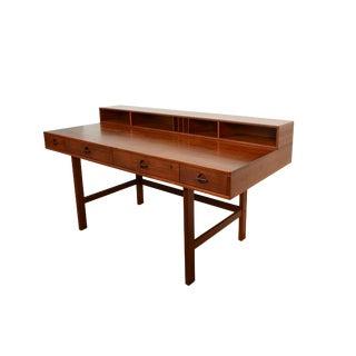 1970s Vintage Lovig Teak Desk Flip Top Desk For Sale
