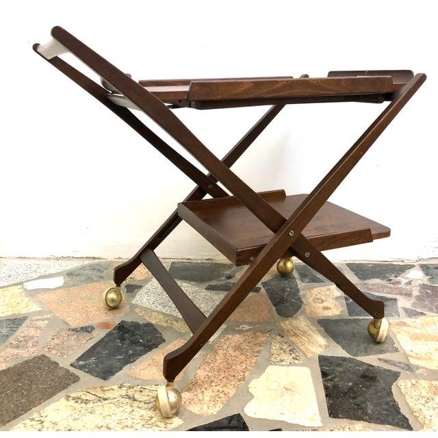 Mid-Century Modern Danish Style Folding Rolling Bar / Tea Cart For Sale - Image 4 of 13