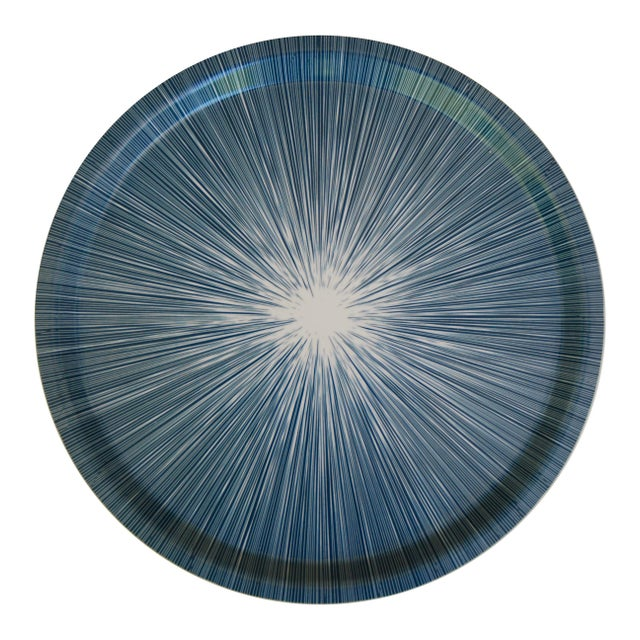 Contemporary Shadow Lines Birchwood Circle Tray in Navy + White For Sale - Image 3 of 3