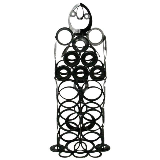 4' Metal Sculpture Of Man - Welded Steel Rings For Sale