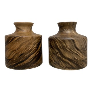 Made Goods Small Rivka Stain Mango Woods Vases - a Pair For Sale