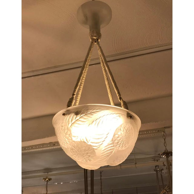Rene Lalique Chandelier 'Dahlias' Signed For Sale - Image 12 of 13