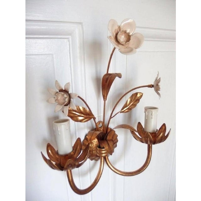 French Flowers Wall Lamp, 1950s For Sale - Image 4 of 6