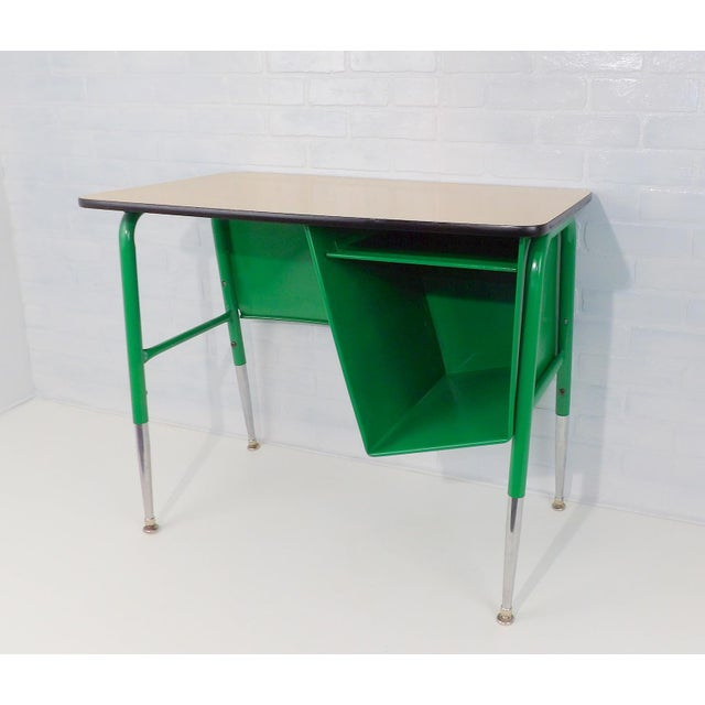 Mid-Century Kelly Green Petite Tanker Office Desk For Sale - Image 9 of 9