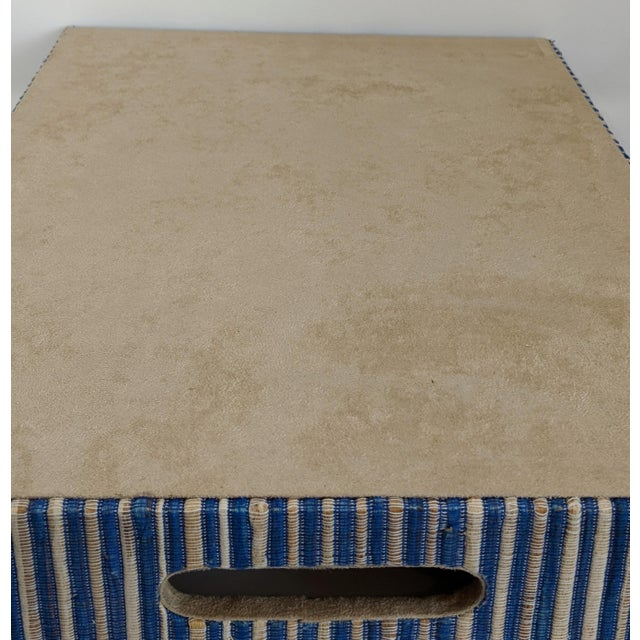 Organic Rectangular Woven Tray With Cotton and Rattan For Sale - Image 9 of 10
