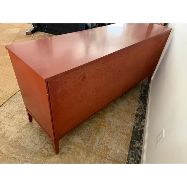 Brick Red Dixie Mid-Century Brick Red 9 Drawer Dresser For Sale - Image 8 of 11