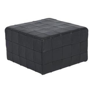 De Sede Black Leather Patchwork Cube Ottoman For Sale
