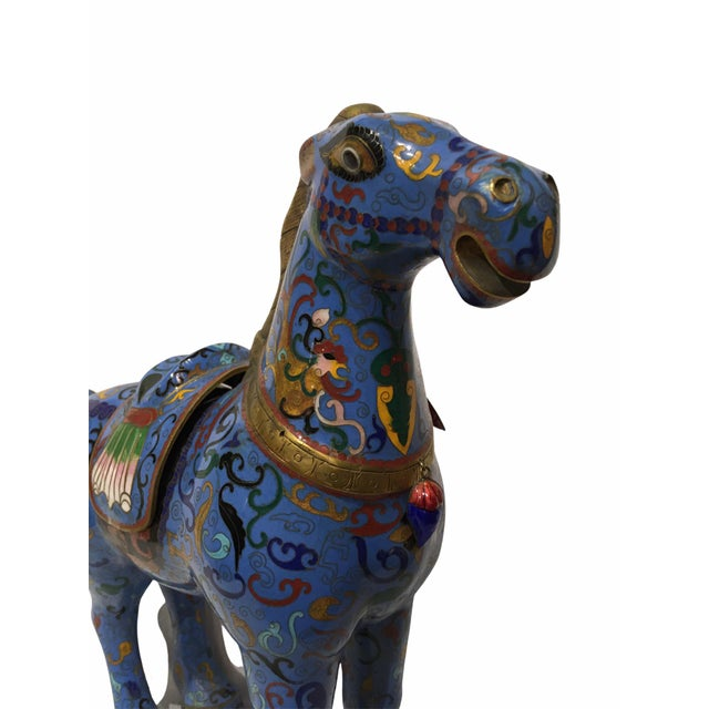 Vintage Chinese Cloisonné Horse Statue For Sale - Image 9 of 13