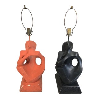 Rima Ny Mid-Century Abstract Black & Red Plaster Cubism Figural Lamps - a Pair For Sale