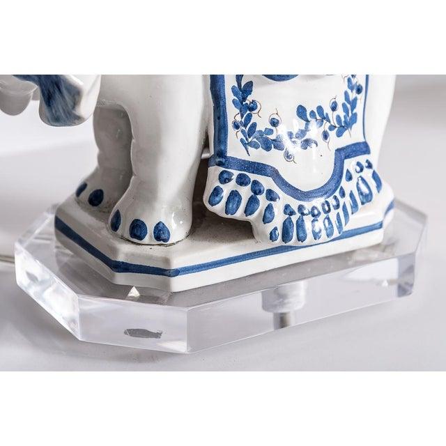 Ceramic Italian Glazed Terra Cotta Blue & White Elephant Obelisks, A-Pair For Sale - Image 7 of 12
