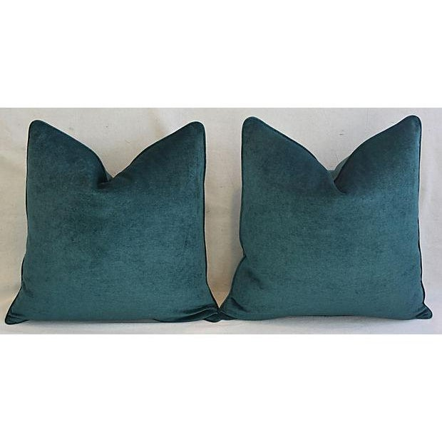 Abstract Aqua Marine Green/Turquoise Velvet Feather & Down Pillows - a Pair For Sale - Image 3 of 13