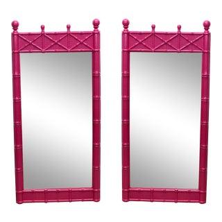 Pair of Mid-Century Fuchsia Mirrors For Sale
