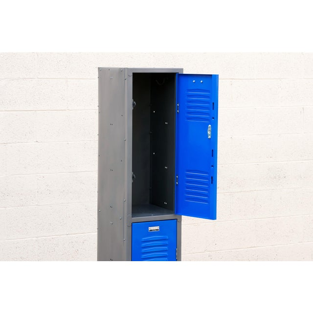 Industrial 1970s Vertical Locker Cabinet,Refinished in Royal Blue For Sale - Image 3 of 7