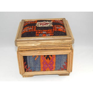 Bohemian Kilim Chest, Turkish Kilim Rug Chest, Vintage Wooden Unique Chest, Mothers Day Present, Jewellery Box, Decorative Storage, Small Gift Boxes Preview