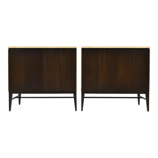 Paul McCobb Cabinets/ Credenzas with TravertineTops by Calvin For Sale