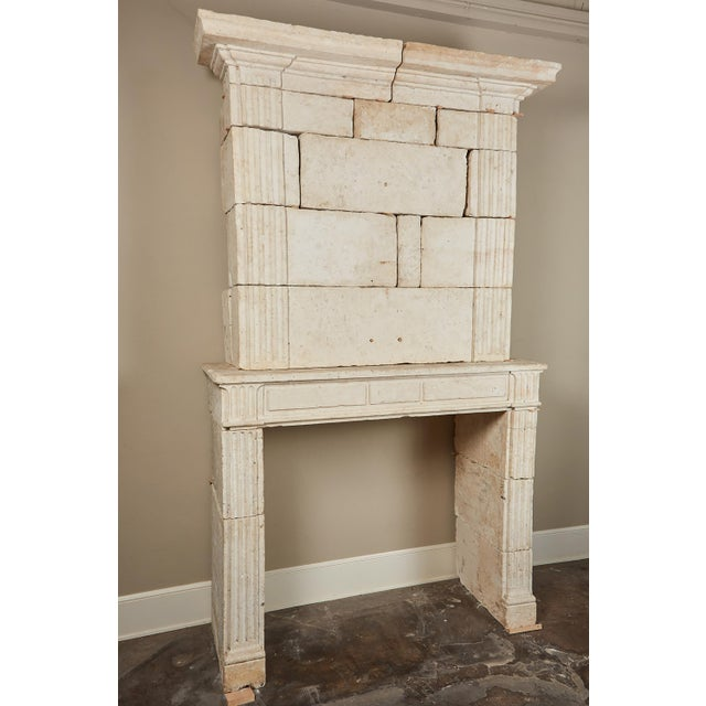 Stone 18th Century Neoclassical French Limestone Fireplace Surround For Sale - Image 7 of 9