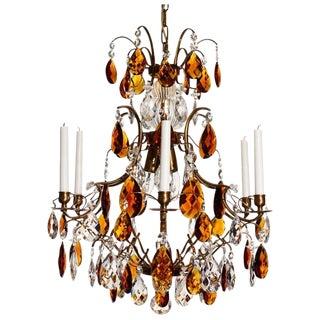 6 Arm Cognac Almond Amber Baroque Chandelier For Sale