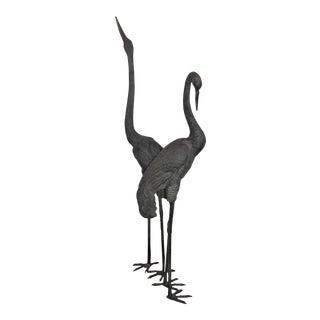 Bronze Crane Sculptures 6 Ft - a Pair For Sale