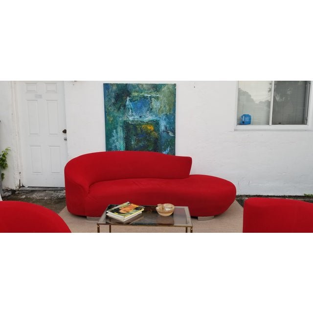 Chrome Vladimir Kagan Red Velvet Serpentine Sofa . For Sale - Image 7 of 13