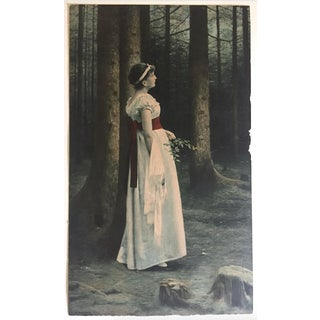 """Antique Early 1900's Max Nonnenbruch Neoclassical Heliogravure Art Print """" in the Fir Forest """" 1891 For Sale"""