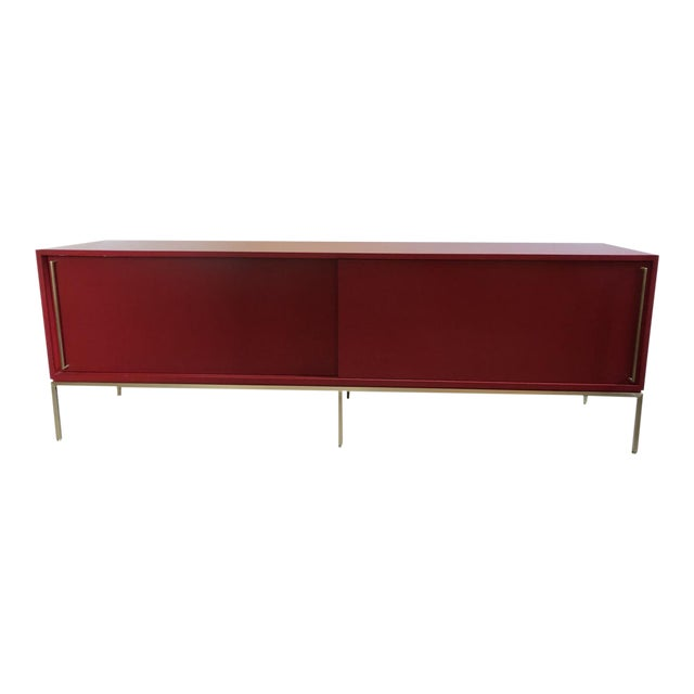 Re: 379 Credenza With Red Lacquered Case on Satin Brass Frame-Floor Model For Sale