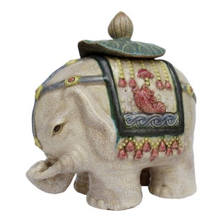 Vintage C1930s-50s Terracotta Ceramic Crackle Glaze Elephant With Lotus Leaf Top For Sale
