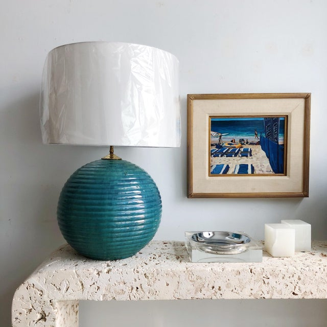 Vintage Teal Round Glazed Terra Cotta Lamps - a Pair For Sale - Image 9 of 10