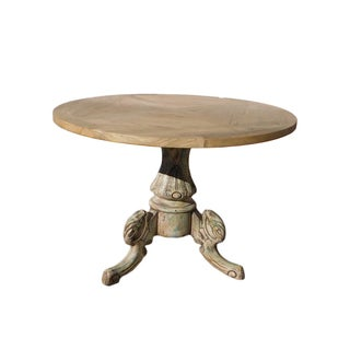 Chinese Raw Wood Tri-Leg Base Round Pedestal Table For Sale