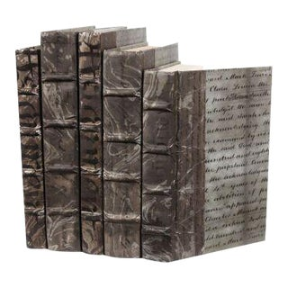 Antique Script Gunmetal Books - Set of 5 For Sale