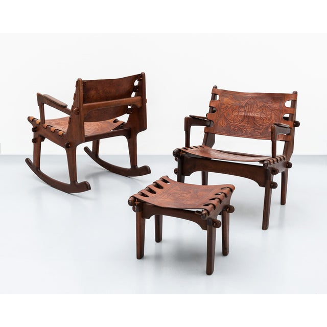 Lounge Chair and Ottoman Set by Angel Pazmino in Rosewood and Tooled Leather, Ecuador, 1960s For Sale - Image 9 of 10