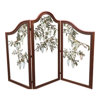 Rare Antique Mahogany & Painted Glass Botanical Floor Screen Room Divider W Wisteria Flowers For Sale