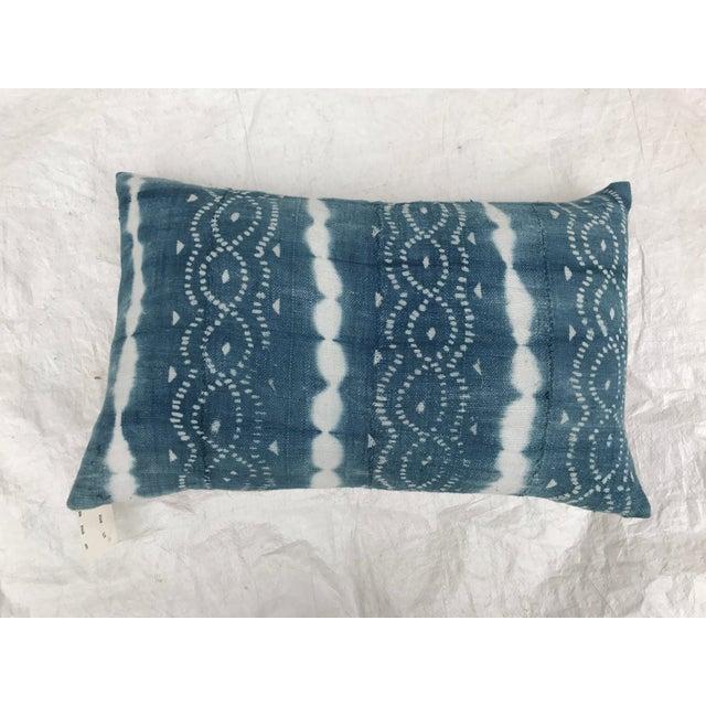 African Indigo Faded Tye-Dye Fringe Pillows - A Pair - Image 10 of 10