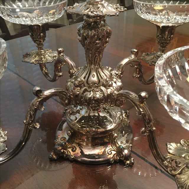 Reed & Barton Silver-Plate Epergne Crystal Liners - Image 3 of 7