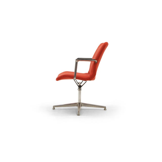 Mid-Century Modern George Nelson Desk or Office Chair, Very Rare, New Red Boucle Knoll Upholstery For Sale - Image 3 of 8