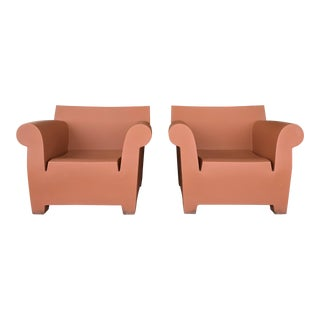 Contemporary Philippe Stark for Kartell Brick Red Bubble Arm Chairs - a Pair