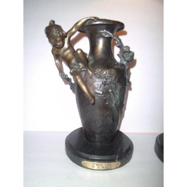 Auguste Moreau Bronze Vases - A Pair - Image 2 of 7