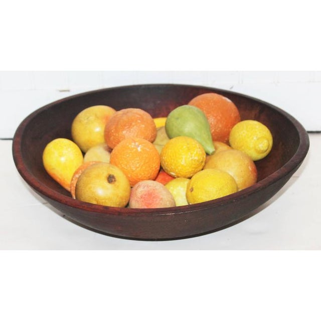 19th Century Wood Butter Bowl with Collection, 24 Pieces Stone Fruit - Image 3 of 9