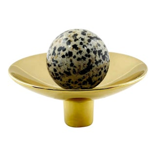 Addison Weeks Gibson Knob, Brass & Dalmation Jasper For Sale