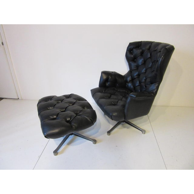 Black Tufted Swiveling Lounge Chair and Ottoman For Sale - Image 8 of 10