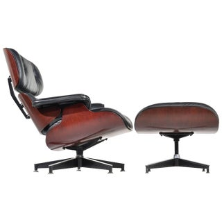 Charles and Ray Eames Cherry and Leather 670 Lounge Chair and 671 Ottoman For Sale