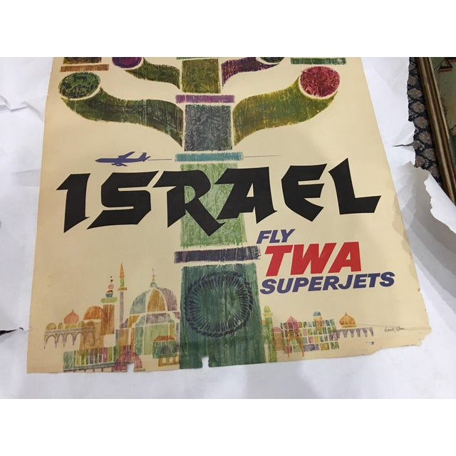 Green 1960 David Klein 'TWA Israel' Poster For Sale - Image 8 of 9