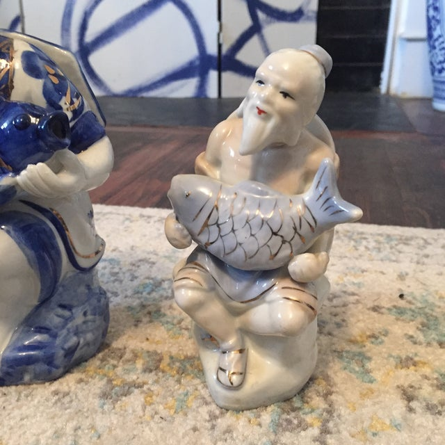 Asian Chinoiserie Asian Man Fisherman Figurines - Set of 3 For Sale - Image 3 of 9