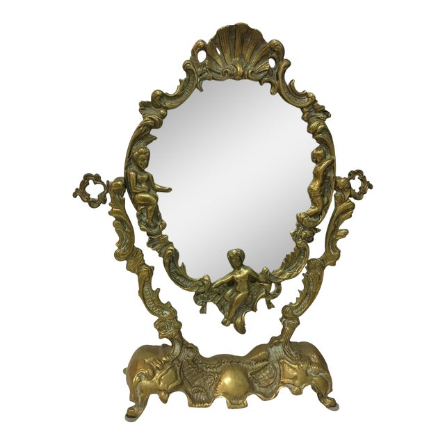 Vintage 1930's Brass Table Top Mirror - Image 1 of 11